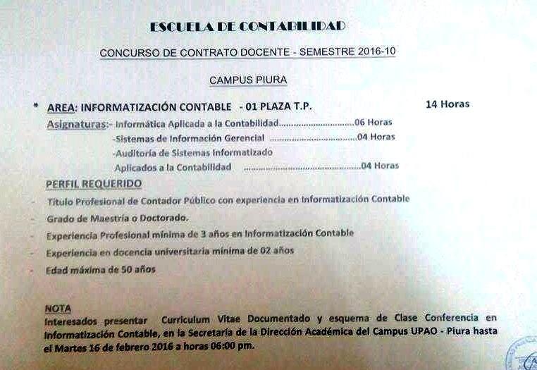 Upao concurso docente contabilidad for Plazas concurso docente 2016