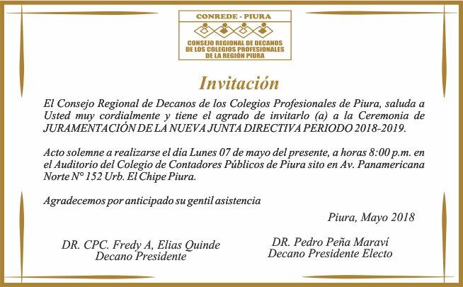 Invitación A Ceremonia De Juramentación De La Junta