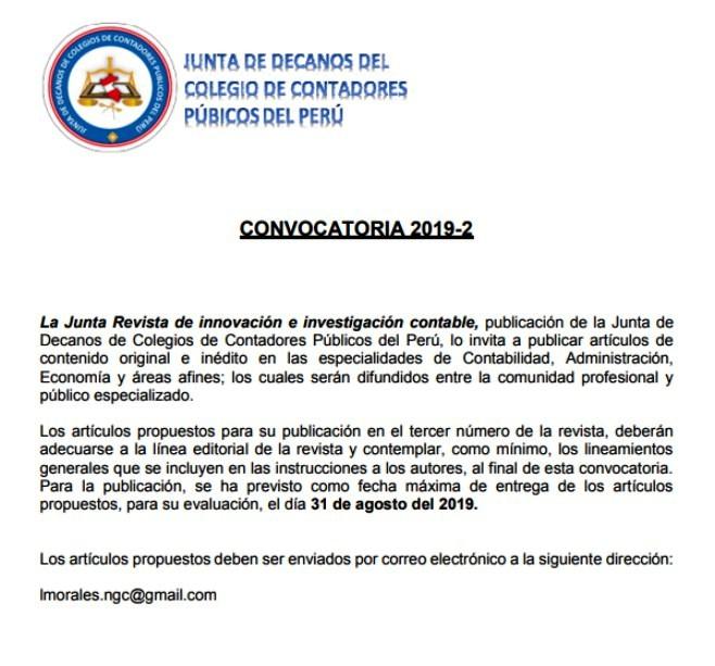 Convocatoria 2019 2 La Junta Revista De Innovacion E Investigacion Contable